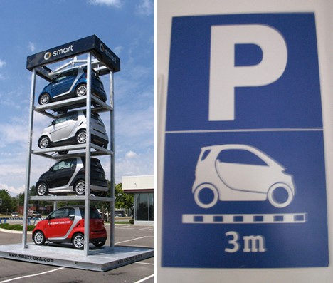 Stacked SmartCars.