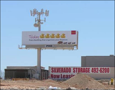 Billboard with wireless towers